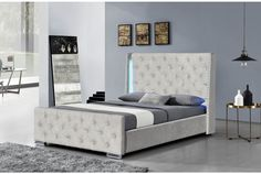 Dorchester LED Winged Diamante Headboard Grey Fabric Bed