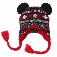 Disney Womens Black Knit Mickey Mouse Peruvian Style Trapper Hat Fleece Lined