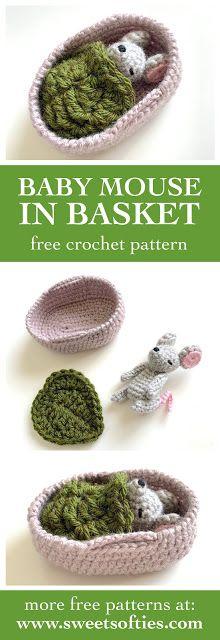Baby Mouse in Moses Basket (Free Crochet Pattern) - Sweet Softies Doll Amigurumi Free Pattern, Crochet Bunny, Crochet Patterns Amigurumi, Crochet Dolls, Knitting Patterns, Crochet Mouse, Crochet Animals, Crochet Basket Free Pattern, Softie Pattern