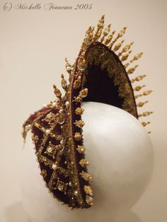 Aurora--Eggplant velvet, gold metallic trim, freshwater pearls, vintage crystals, swarovski crystals, gold findings. French hood designed and created by Michelle Fennema 2005. Historical Costume, Historical Clothing, Renaissance, Medieval Hairstyles, Medieval Costume, Tiaras And Crowns, Looks Style, Headgear, Headdress