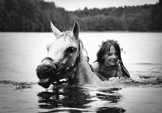 Arabian Horse Times: Just a Girl and her Horse I always wanted to swim across our pond on my horse but I knew I wouldn't get to ride for quite awhile if I did! My Horse, Horse Love, Horse Girl, Horse Riding, Horse Camp, Cow Girl, Cow Boys, I Love Swimming, Girls Swimming