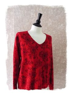 Villager womens XL tunic top long sleeve metallic bling #Christmas red X-Large #fashion