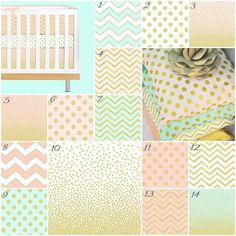 Sparkles (baby Bedding Crib Set), Pink Aqua Mint Metallic Gold Chevron Polka Dot…