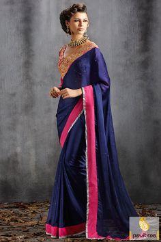 Pavitraa Cobalt Blue Stunning Party Wear Sarees Rs 2655.9 #partywearsaree #onlinepartywearsaree #embroiderypartywearsaree