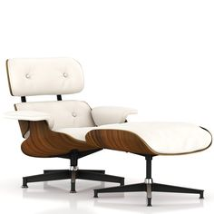 Eames Lounge Chair and Ottoman - VeneerOiled santos palisander + MaterialMcl leather pearl