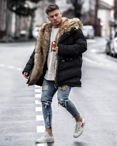 Stylish Mens Outfits, Casual Winter Outfits, Winter Fashion Outfits, New Outfits, Mode Masculine, Men Looks, Men's Coats And Jackets, Parka Jackets, Mens Fur