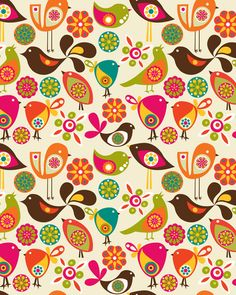 "Whimsical birds! I love the shapes and colors -- very modern ""Partridge Family""."