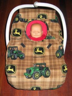 JOHN DEERE GREEN TRACTOR FLEECE Baby INFANT Car Seat Carrier Cover - NEW!