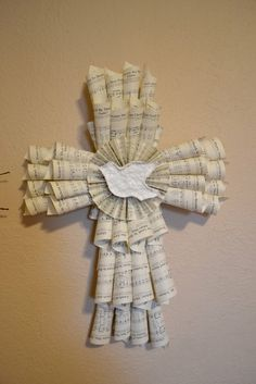 Inspirational Cross from Recycled Hymnal Pages by AcornHillHome, $45.00