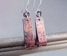 7th Anniversary Gift, Copper Earrings, Nickel Free Earrings, Mixed Metal Earrings, Teardrop Earrings, Nickel Free Jewelry, Cool Earrings