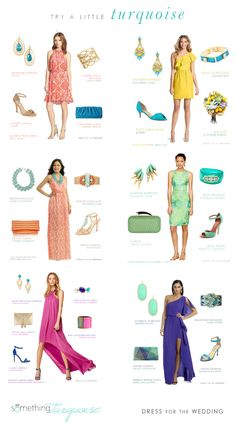 Dresses with turquoise accessories by Dress for the Wedding for What To Wear To A Wedding, How To Wear, Turquoise Accessories, Wedding Collage, Wedding Inspiration, Wedding Ideas, Wedding Styles, Bridesmaid, Mood Boards