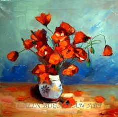 Flowers poppy field by Calin Bogatean on ARTwanted Clay Pots, Flower Art, Still Life, Oil On Canvas, Poppies, Art Gallery, Mac, Artwork, Artist