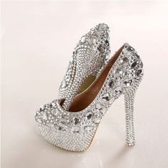 New Slipper Pink lace wedding shoes bride with diamond handmade shoes waterproof white wedding shoes with high heels Wedding Wedges, Wedding Shoes Bride, White Wedding Shoes, Wedding Shoes Heels, Prom Heels, Bridal Shoes, Lace Wedding, Crystal Wedding, Stilettos