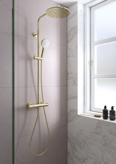 Damixa Silhouet polished brass shower system with large pink tiles room facilitiesTri - Three Tier Iron Frame Shelf This practical yet beautiful iron wall shelf adds style & three layers of convenience to your home! Tiles Uk, Frame Shelf, Pink Tiles, Interior House Colors, Interior Design, Modern Shower, Home Decor Quotes, Room Tiles, Shower Systems