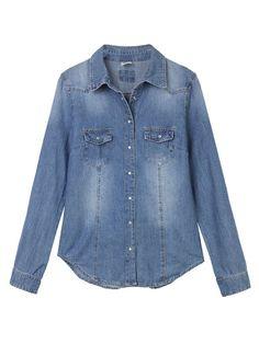 Casual Long Sleeve Button Blue Denim Shirt For Women