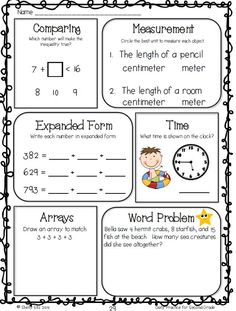 Common Core Math Worksheet for 2nd grade--Free-measurement, word problems, telling time, expanded form, arrays, and more