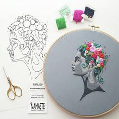 This listing is for an embroidery pattern and kit. This pattern is my most favorite embroidery design. Creative and creating women are the inspiration for this piece. We create art and we create life, and here we see a woman creating beautiful life by blooming flowers from her mind.