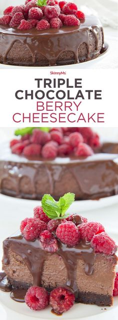 This Triple Chocolate Berry Cheesecake is heaven! All the decadence minus all the guilt! #skinnyms #chocolate