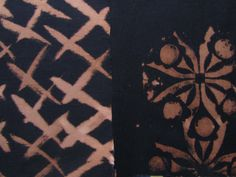commercially dyed fabric, and tried discharge printing black cotton. Textile Prints, Textiles, Paint Ideas, Heat Transfer, Black Cotton, Spinning, Fabric Design, Fabrics, Sewing