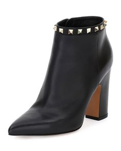 Rockstud+Pointed-Toe+100mm+Ankle+Boot,+Black+(Nero)+by+Valentino+at+Neiman+Marcus.