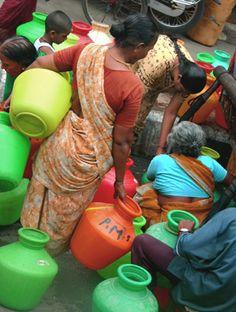 INDIA: Chennai - gathering water