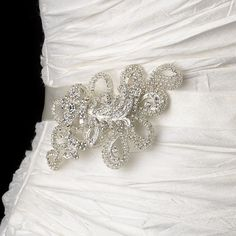Crystal Rhinestone Wedding Evening Bridal Cocktail Sash Belt Felt Leaf Petal