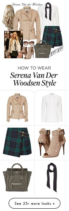 """{ halloween costume: serena van der woodsen }"" by callingmybluff on Polyvore featuring Burberry, Capelli New York, Halogen and CÉLINE"