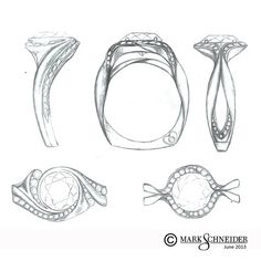 More #new #ring #sketches! Which one would YOU want placed on your finger?…