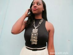 super statement necklace, m renee design, tulle skirt, jewels with style, black and white outifit, large statement necklace, black fashion blogger, handmade jewelry(and new pieces) can be found at  www.mreneedesign.com.