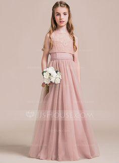 [US$ 81.99] Corte A/Princesa Novio Hasta el suelo Tul Vestido de Damita de honor (009087886)