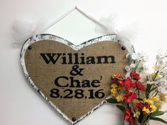 Mr Mrs name sign heart shaped burlap rustic cottage ring bearer wall decor anniversary wedding date signs handle hanging bride groom by SophiasSignBoutique on Etsy