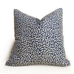 Robert Allen Spaced Out Navy Blazer Blue Beige Swiggles Texture Pillow Cover by Aloriam