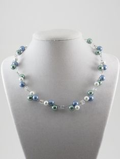 glass pearl and crystal cube wire weave necklace