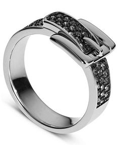 Michael Kors Ring, Silver-Tone Pave Crystal Buckle Ring