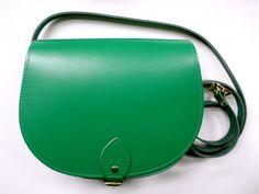 Bright Green Leather Saddle Bag  Handmade in UK by JALALDesigns