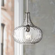 Fantastic above smaller dining tables or in pairs, this mini pendant light is sleek and stylish. A textured glass shade creates a dimensional lighting look, while a brushed nickel finish adds polish. Modern design from 360 Lighting. Kitchen Pendants, Glass Pendants, Kitchen Lamps, Mini Pendant Lights, Pendant Lighting, Pendant Lamps, Kitchen Lighting Fixtures, Bathroom Lighting, House Lighting
