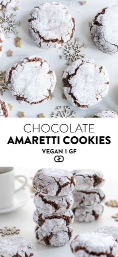 Easy cookies that are the best for any… Perfect Vegan Chocolate Amaretti Cookies! Easy cookies that are the best for any. Easy cookies that are the best for any. Gluten Free Xmas Cake, Gluten Free Chocolate, Delicious Chocolate, Healthy Chocolate, Delicious Food, Gluten Free Christmas Recipes, Desserts Végétaliens, Vegan Dessert Recipes, Best Vegan Desserts