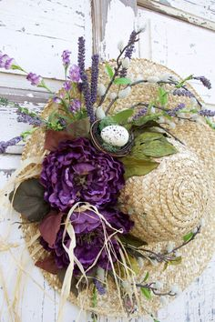 Straw Hat Wreath with Purple Blossoms