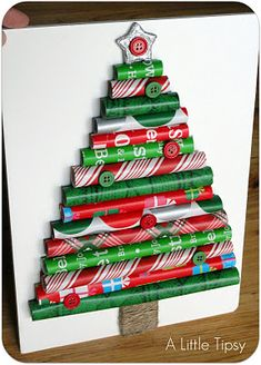Great Christmas Craft for the kids~ DIY:Make a Christmas Tree ~    Supplies:  >Assorted wrapping paper  >Elmers Glue Spots  >Elmers foam board  >Scissors  >Large Popsicle sticks  >Heavy duty kitchen shears  >Garden twine  >Elmers tacky glue  >Hot glue  >Wood Star  >Martha Stewart Glitter Paint  >Buttons    Tutorial @  http://www.alittletipsy.com