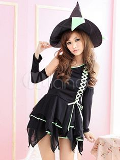 Black Asymmetrical Spandex Woman's Sexy Witch Costume - Milanoo.com  #Milanoo #Halloween #costume #sexy