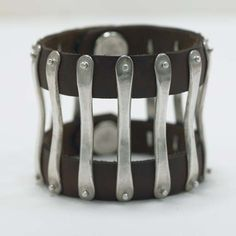 Jill Platner Axis bracelet.  Leather and silver.