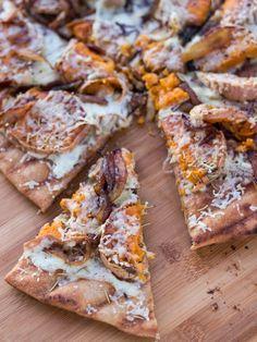 rosemary roasted sweet potato & balsamic carmelized onion pizza