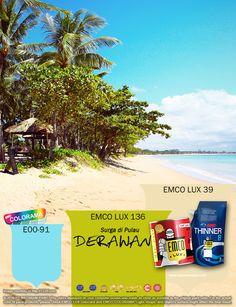 Kawan EMCO, tertarik mengunjungi tempat wisata yang sangat indah ini? Ayo Telusuri Indonesiamu! Hadirkan warna keindahan Pulau Derawan dengan pilihan warna EMCO LUX 136, EMCO LUX 39, dan EMCO COLORAMA E00-91 pada palet EMCO dalam hunian Anda. Untuk artikel menarik lainnya silahkan cek di http://matarampaint.com/news.php.