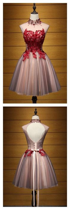 A Line HIgh Neck Tulle Homecoming Dresses with Applique Party Dresses Short Prom #cutejuniorsclothescheap