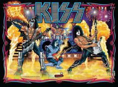 Back glass on Stern's new Kiss pinball game