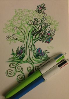 Art project curly tree with ballpoint pens