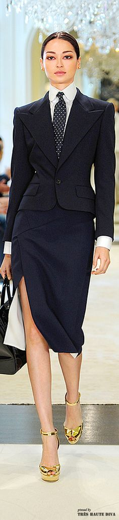 Ralph Lauren Resort 2015 More business-dressed-up than casual, if you are going for the man suit it is nice to show some leg to keep it feminine and rock your girl power!