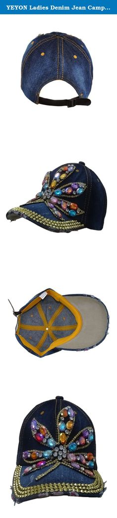 YEYON Ladies Denim Jean Campagne Bling Floral Pattern Adjustable Baseball Cap 3 Styles (Navy). Product Description The baseball hat is comfortable. A comfortable and fashion accessories to protect you from sun damaging and UV rays Adjustable slip buckle design back.