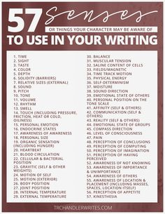 57 senses to use for character awareness, writing tips, writing prompts, writing inspiration Creative Writing Tips, Book Writing Tips, Writing Words, Writing Process, Writing Resources, Writing Help, Writer Tips, Creative Writing Inspiration, Story Writing Ideas