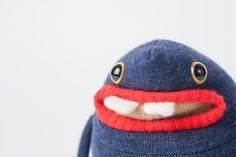 blue monster stuffy with two teeth Monster Food, Need Friends, Cute Monsters, Plushies, My Friend, Teeth, Knitted Hats, Beanie, Wool